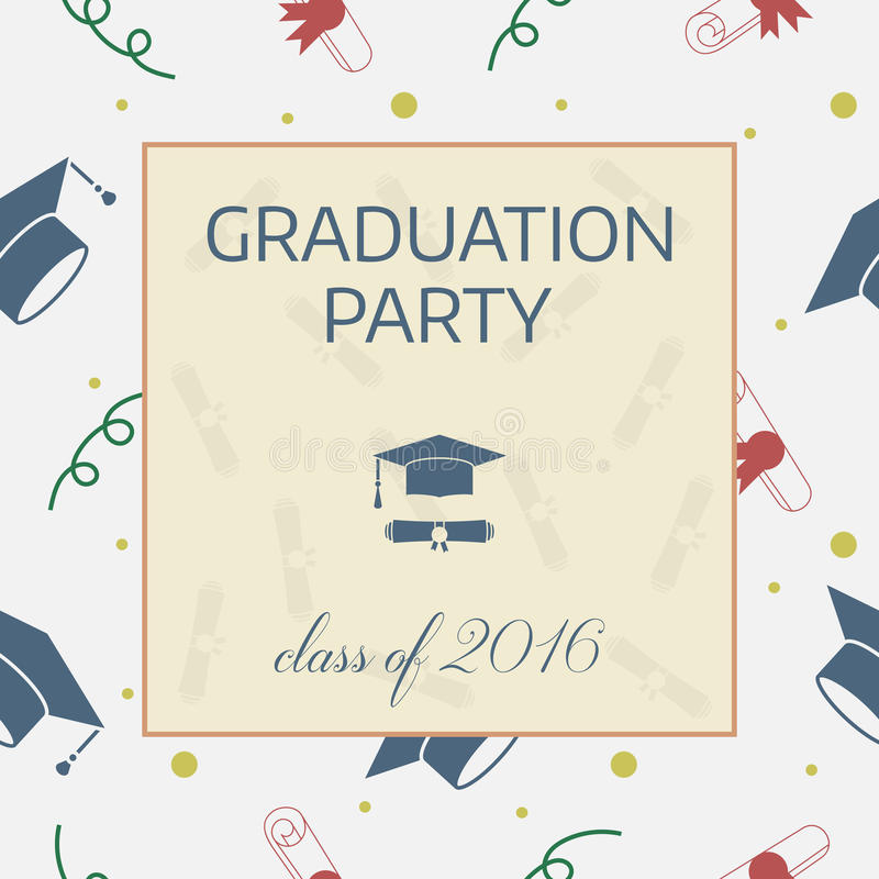 Obtention du diplôme célébrant l'invitation ou la carte postale illustration libre de droits