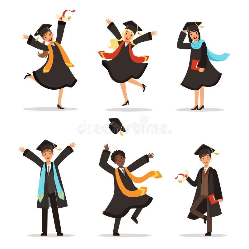 Obtention du diplôme des étudiants heureux à différentes nations Illustration de vecteur de mode de vie d'université illustration de vecteur