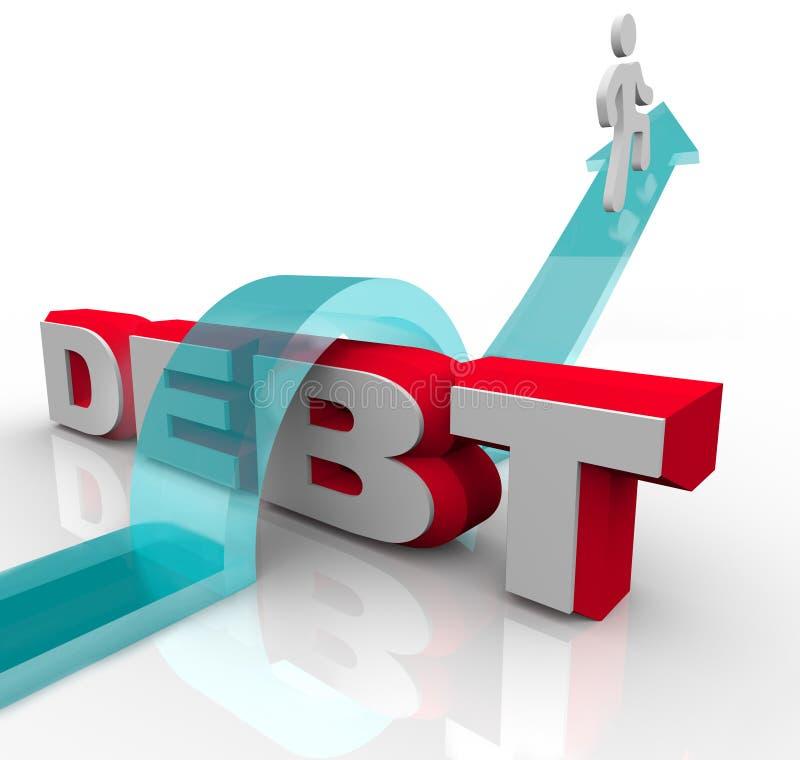 Obter sobre o débito supera a crise financeira do problema ilustração stock