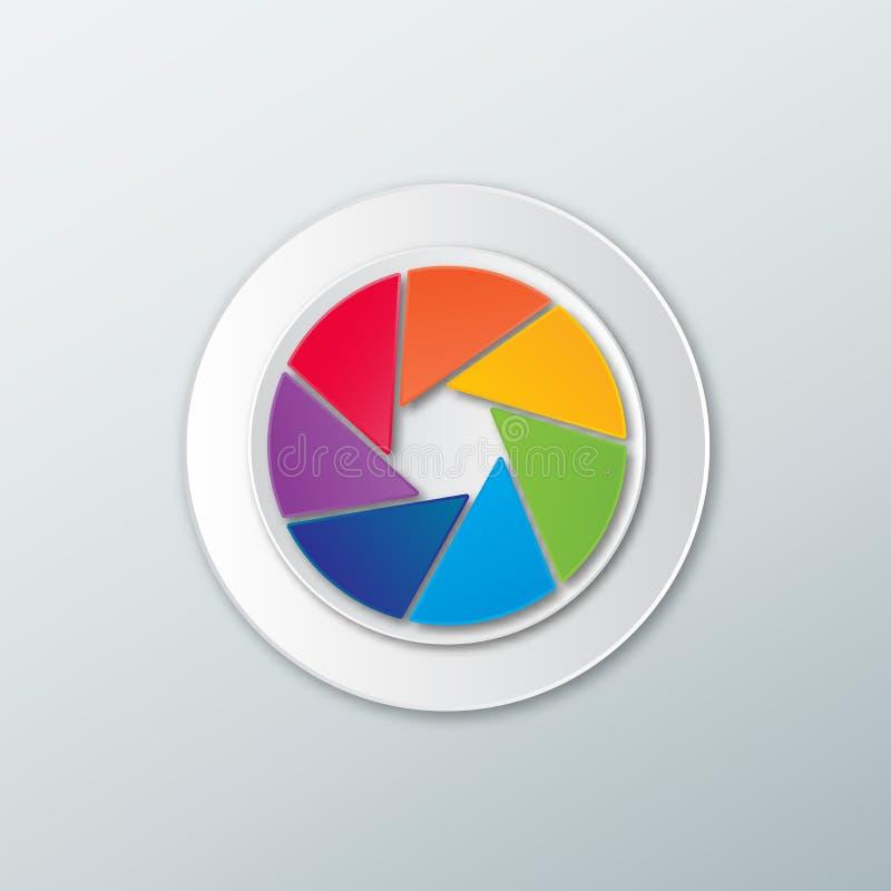 Obturador de la cámara de color del arco iris del icono ilustración del vector