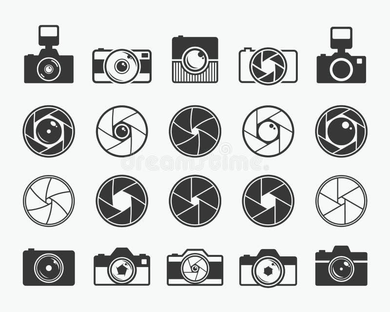 Obturateur de caméra, lentilles et icônes d'appareil-photo de photo illustration libre de droits