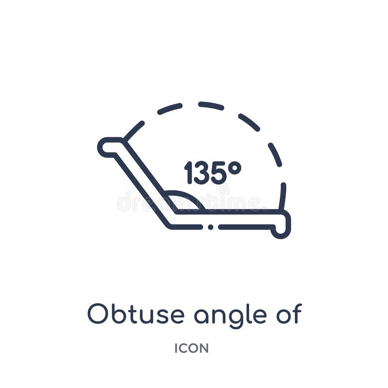 obtuse angle of 135 degrees icon from other outline collection. Thin line obtuse angle of 135 degrees icon isolated on white royalty free illustration