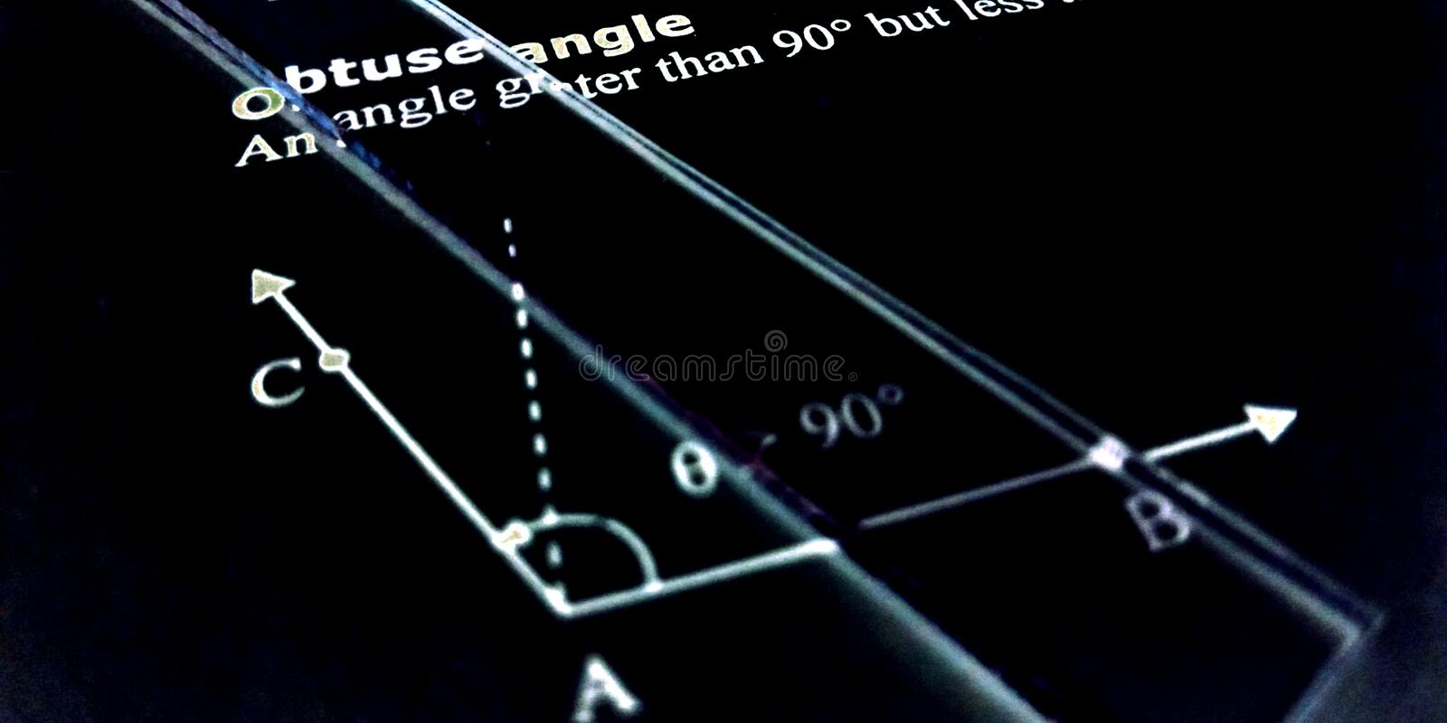 Obtuse angle more than 90 degree presentation on black background. Straight, 180, word, written, english, language, two, s, combination, plus, digit, blue stock images