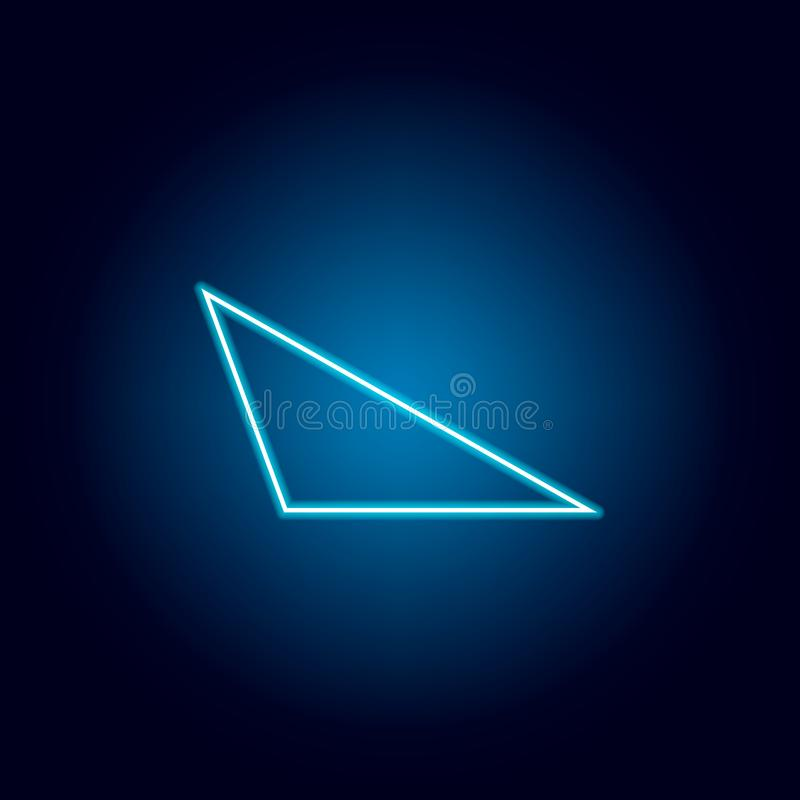 obtuse tr?jboka ikona w neonowym stylu Geometryczny posta? element dla mobilnych poj?cia i sieci apps Cienka kreskowa ikona dla s ilustracja wektor