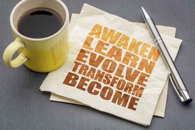 Obudzi, uczy się, rozwija, przekształcać, zostać, fotografia stock