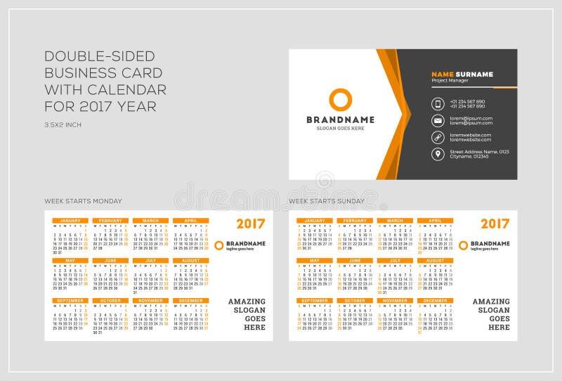 Obusieczny wizytówka szablon z kalendarzem dla 2017 rok zdjęcia stock