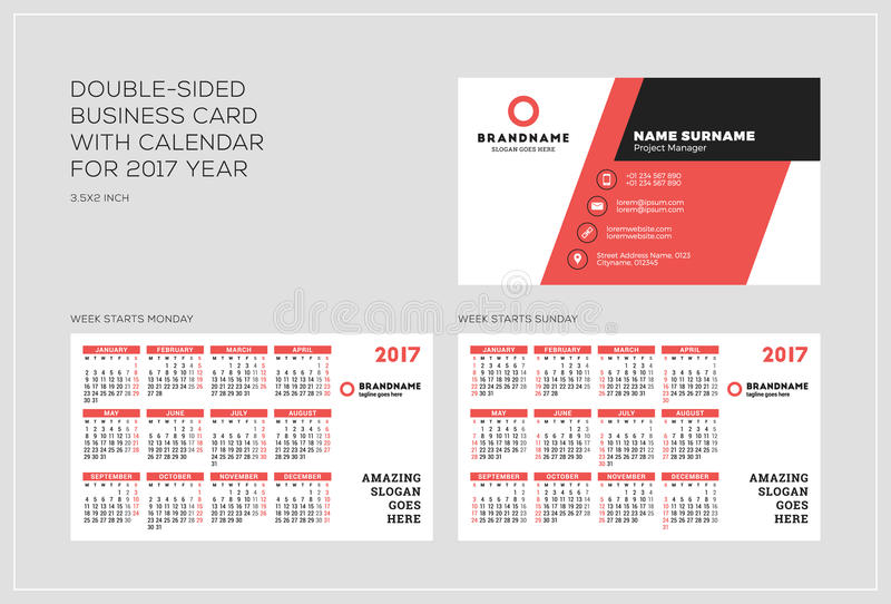 Obusieczny wizytówka szablon z kalendarzem dla 2017 rok zdjęcie stock