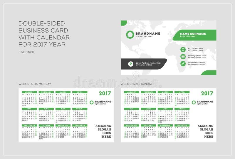 Obusieczny wizytówka szablon z kalendarzem dla 2017 rok Tydzień zaczyna Poniedziałek Tydzień Zaczyna Niedziela Krajobrazowa orien zdjęcie stock