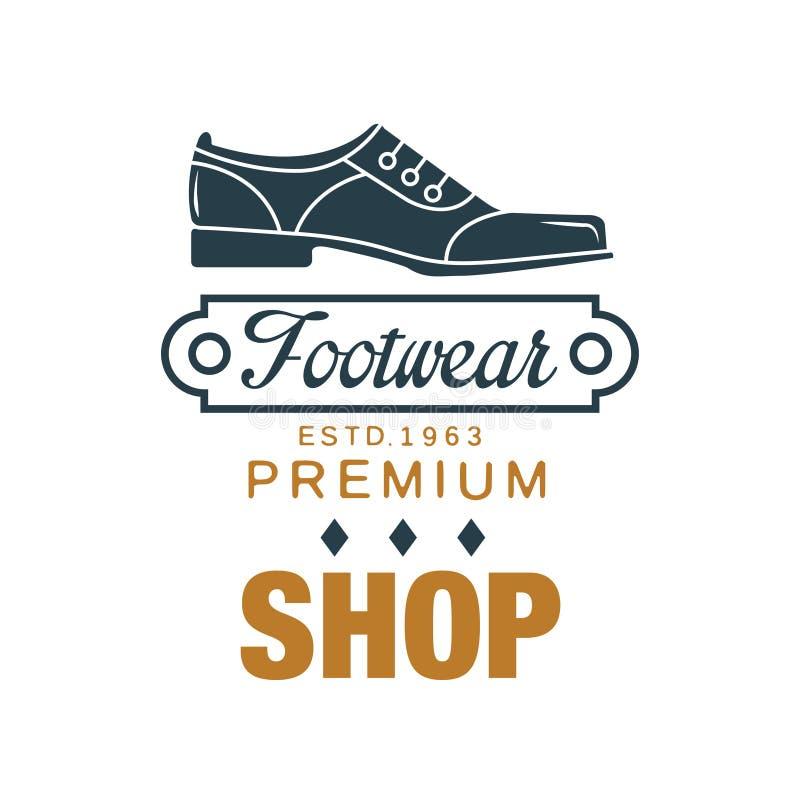 Obuwie, premia sklepowy logo, estd rocznika 1963 odznaka dla szewc, obuwiany sklep i buty, naprawiamy wektorową ilustrację ilustracji