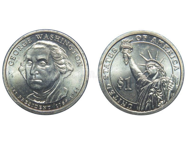 Obvers en omgekeerde van een de dollarmuntstuk van de V.S. George Washington met geïsoleerde achtergrond royalty-vrije stock afbeeldingen