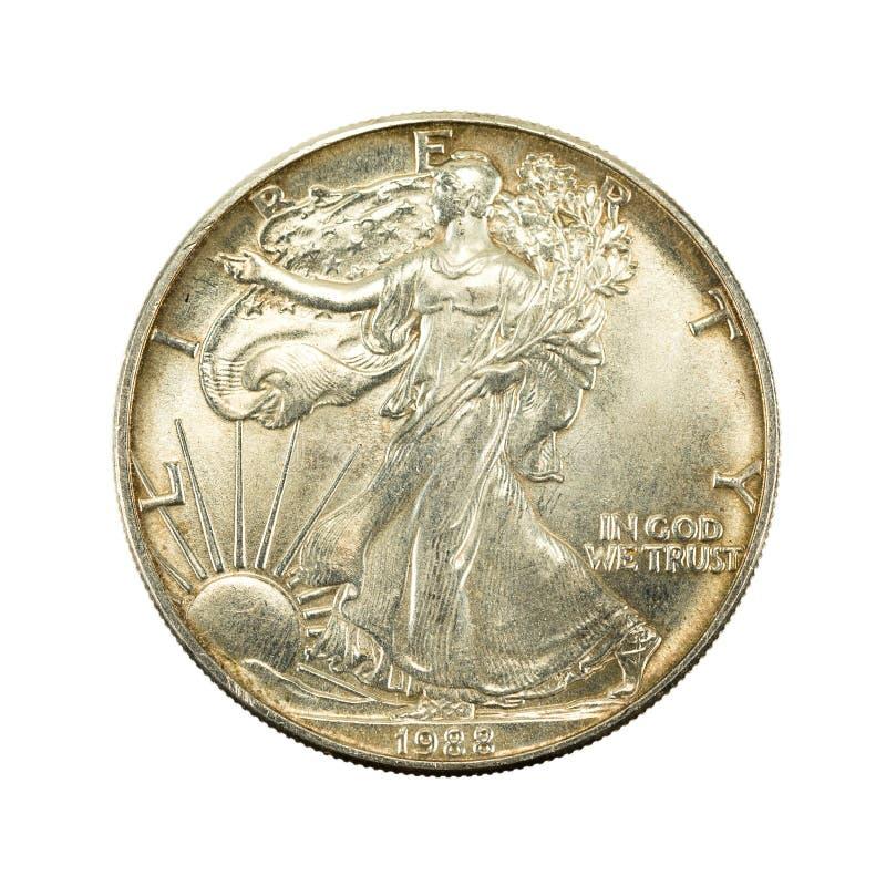 1 obverse монетки 1988 серебряного доллара Соединенных Штатов стоковые фото
