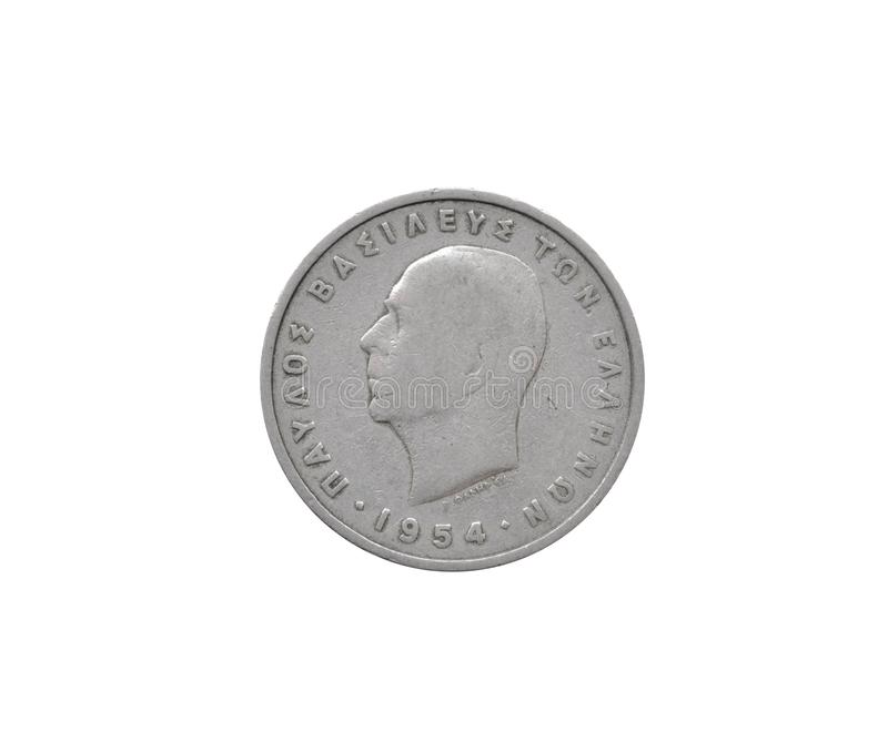 Obverse of 5 Drachma coin. Made by Greece that shows portrait of king Paul royalty free stock image