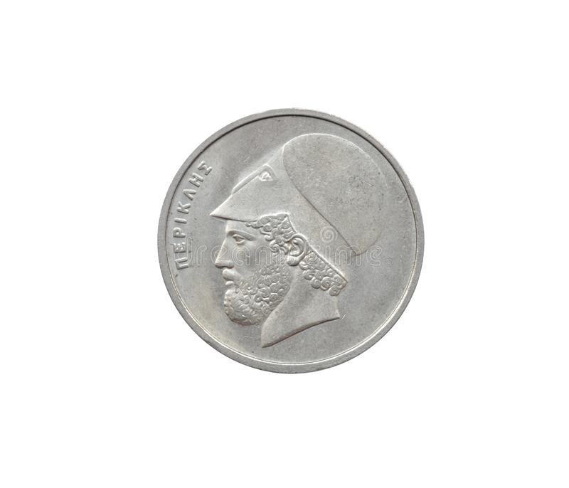 Obverse of 20 Drachma coin. Made by Greece, that shows portrait of Pericles royalty free stock photography