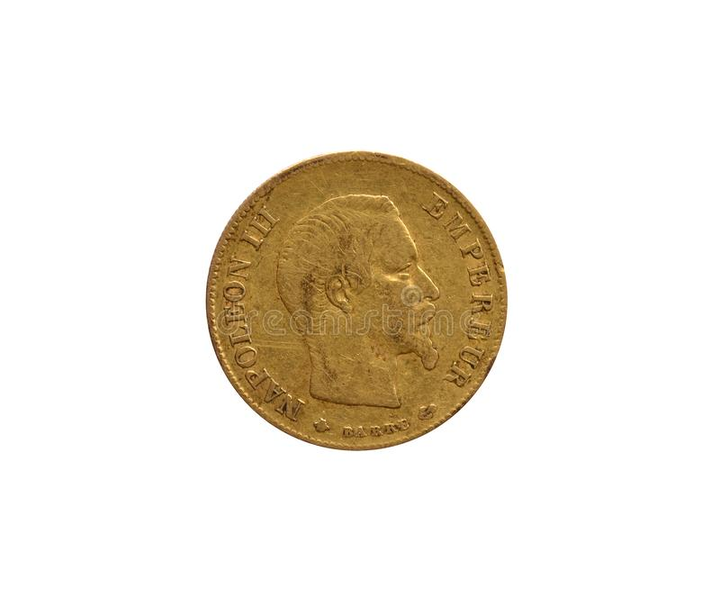 Obverse of 10 gold French Francs stock photo