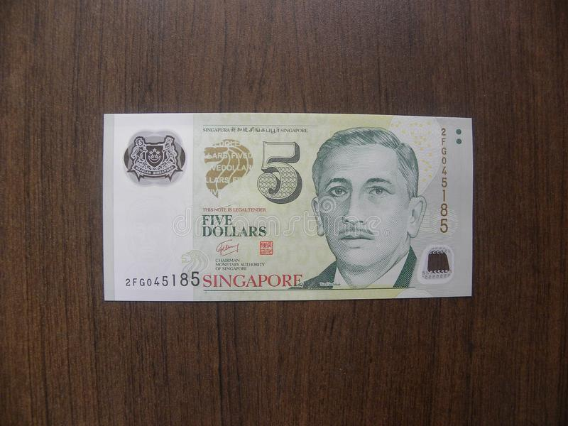 5 dollars Singapore banknote stock photography