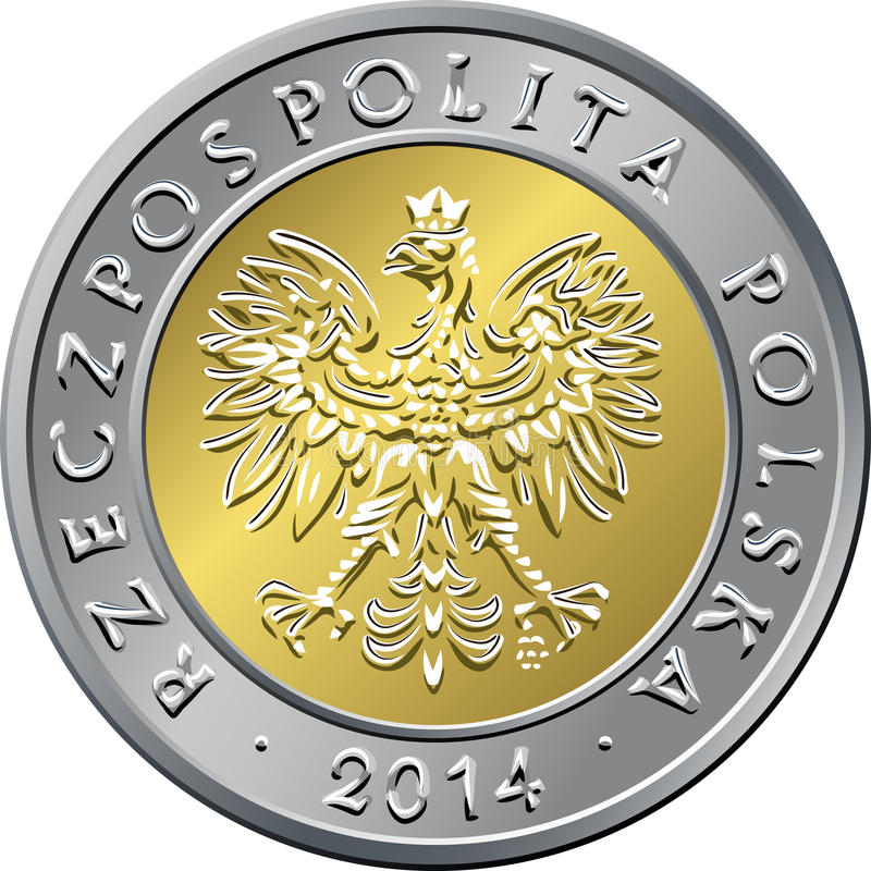 Obverse Polish Money five zloty coin stock photography