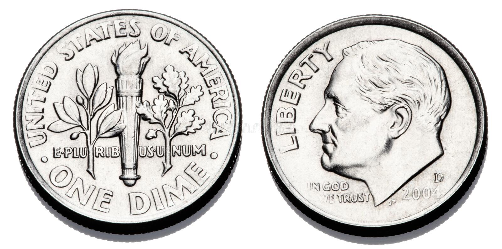 Obverse and reverse of a United States dime. A United States dime, 10 cents, or 1/10 dollar showing the obverse and reverse sides royalty free stock images