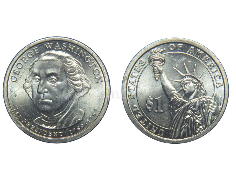 Obverse and reverse of a US George Washington dollar coin with isolated background royalty free stock images