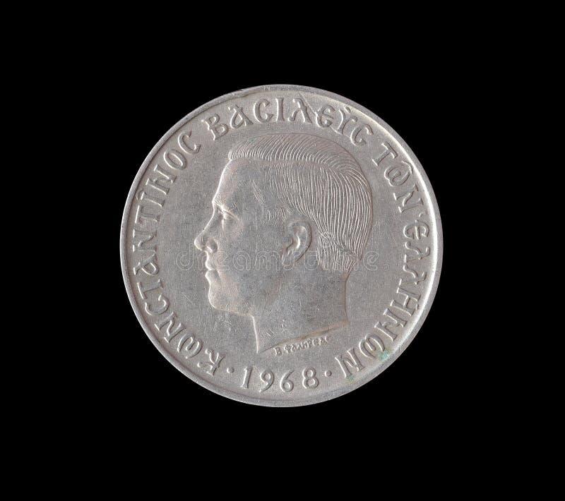 Obverse of vintage drachma coin. Obverse of vintage ten drachma coin made by Greece 1968 stock photos