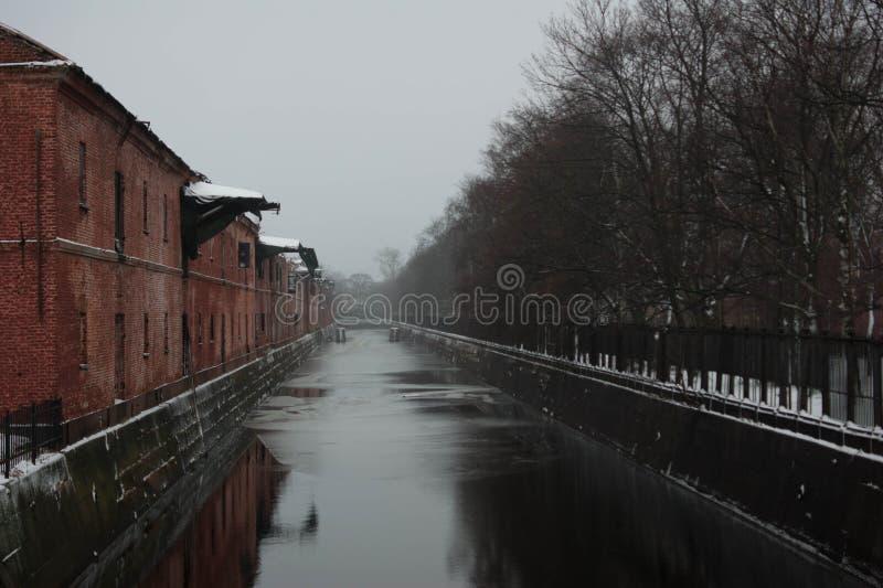 Obvodnykanaal in Kronstadt Rusland stock afbeelding