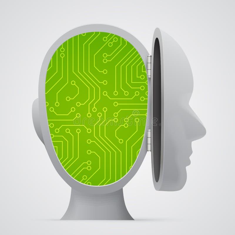 Obwód deski inside głowa technologia royalty ilustracja