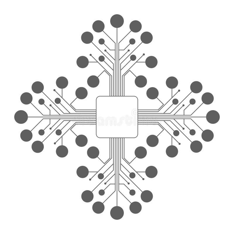 Obwód deski jednostka centralna Mikroukład ikona również zwrócić corel ilustracji wektora ilustracja wektor