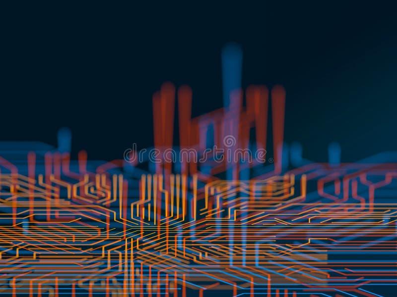 Obwód deski serweru kodu futurystyczny przerób Pomarańcze, błękitny technologii tło z bokeh ilustracja 3 d ilustracja wektor
