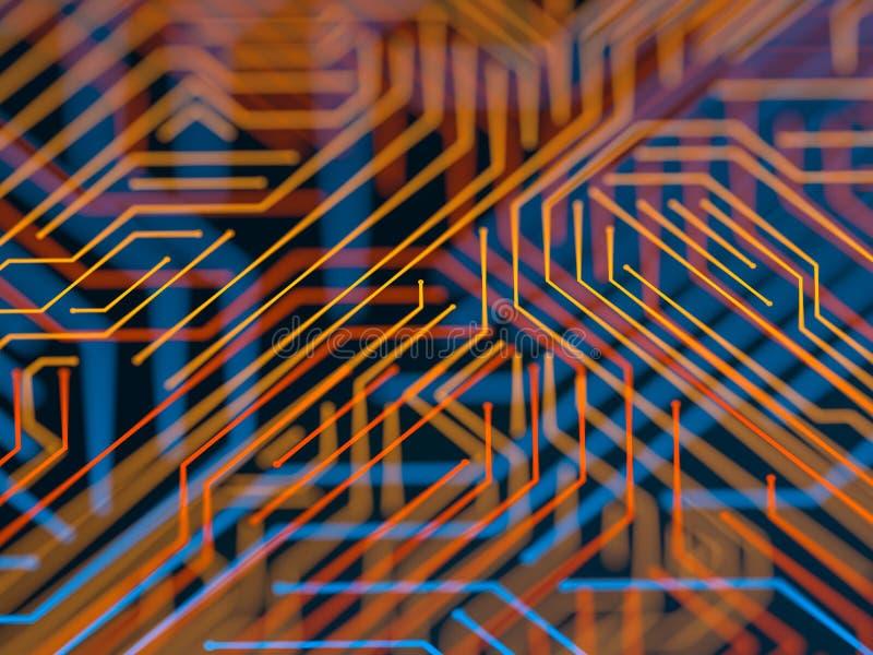Obwód deski serweru kodu futurystyczny przerób Pomarańcze, błękitny technologii tło z bokeh ilustracja 3 d royalty ilustracja