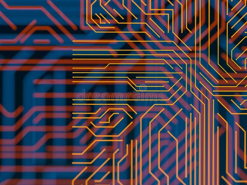 Obwód deski serweru kodu futurystyczny przerób Pomarańcze, błękitny technologii tło z bokeh ilustracja 3 d ilustracji