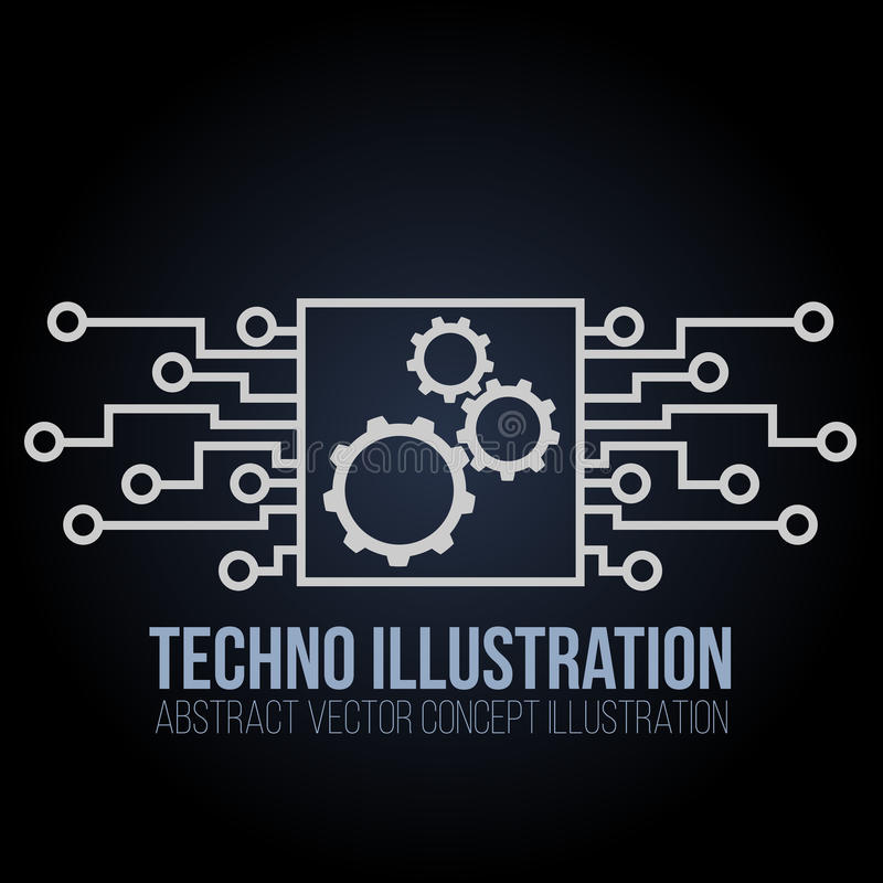 Obwód deski sztandaru wektor na czarnym tle Przekładnie, inżynieria, technika, płyta główna i komputerowy projekt, ilustracji