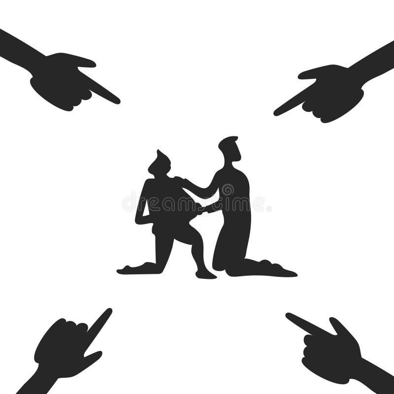 Obwiniony ręki i Obwinionym ludzie royalty ilustracja
