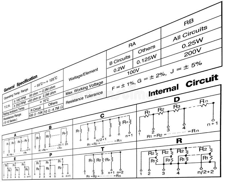 obwodów związki diagram elektronicznego opór ilustracja wektor