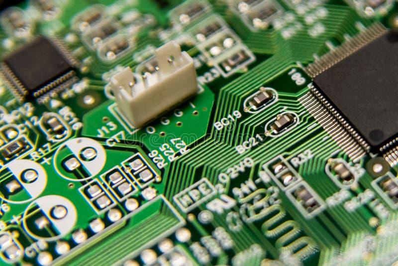 Obwodu deskowego komputeru tło Czerep elektroniczna cyfrowa deska Selekcyjna ostrość fotografia royalty free