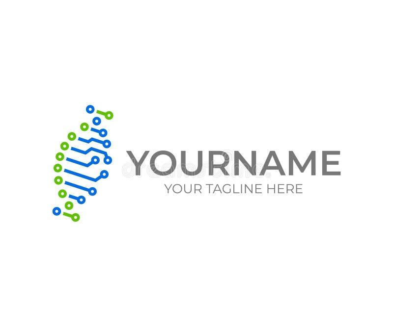 Obwodu DNA helix logo projekt Bioinformatics wektorowy projekt ilustracja wektor