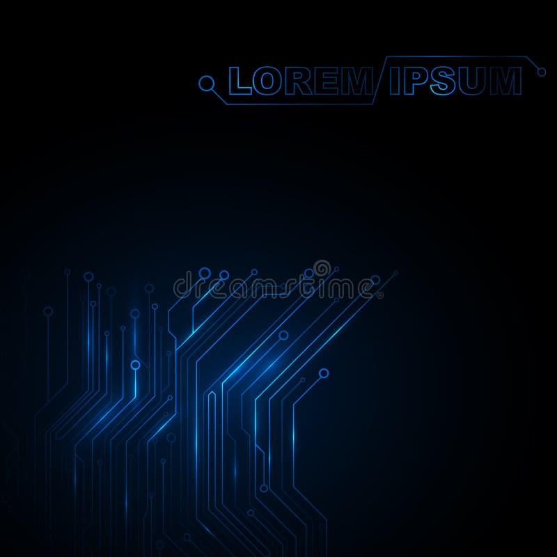 Obwodu tło Nowe technologie w projekcie na czarnym tle Rozjarzony błękita wzór, różni monotonni kolory royalty ilustracja