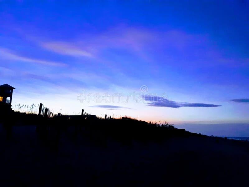 Obx nights. Sunset, beach, sand stock image