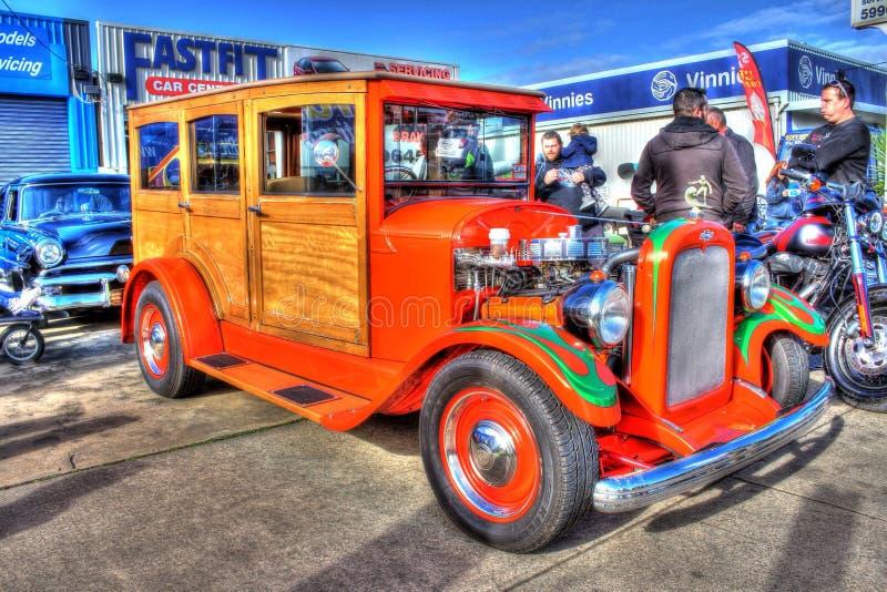 Obyczajowego Chevy drewna kasetonowy samochód dostawczy obraz royalty free