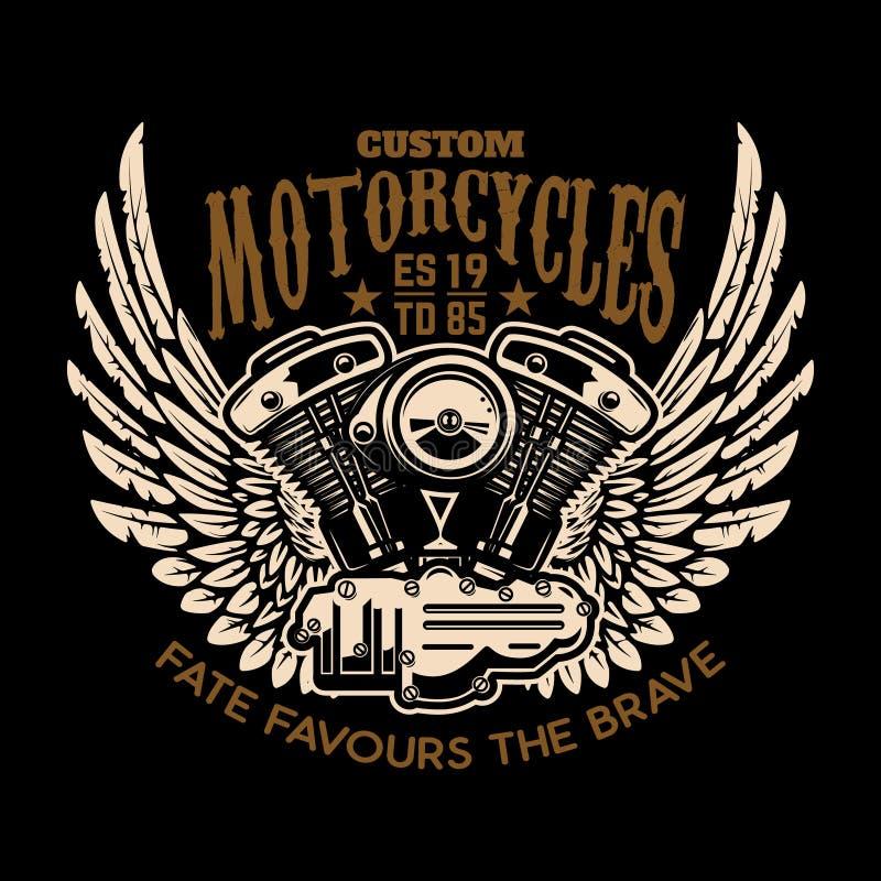 Obyczajowi motocykle Oskrzydlony silnik na ciemnym tle Projektuje element dla loga, etykietka, emblemat, znak, plakat ilustracja wektor