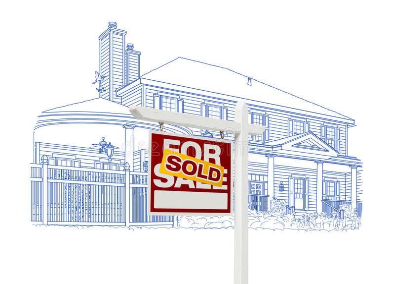 Obyczajowy dom i Sprzedający Real Estate znaka rysunek na bielu ilustracja wektor