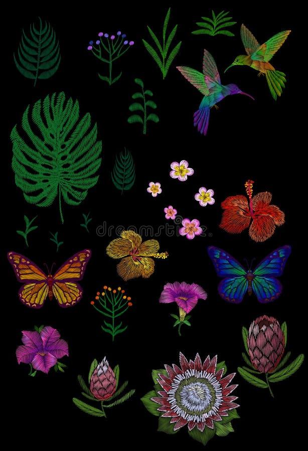 Obyczajowy zwrotnika kwiatu projekt Sety odizolowywający egzotyczni kwiatów liście roślina, hummingbird motyl Monstera palmy pośl royalty ilustracja