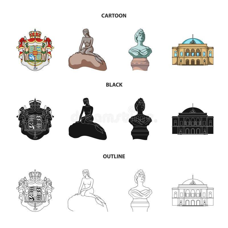 Obywatel, symbol, rysunek i inna sieci ikona w kreskówce, czerń, konturu styl Dani, atrybuty, styl, ikony w secie royalty ilustracja