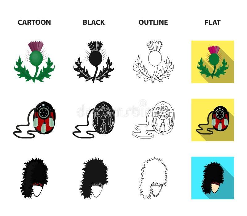 Obywatela Dirk kindżał, osetu Krajowy symbol, Sporran, glengarry Szkocja ustalone inkasowe ikony w kreskówce, czerń, kontur royalty ilustracja