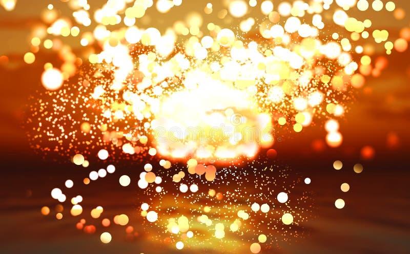 Océan abstrait de coucher du soleil avec des lumières de bokeh illustration libre de droits
