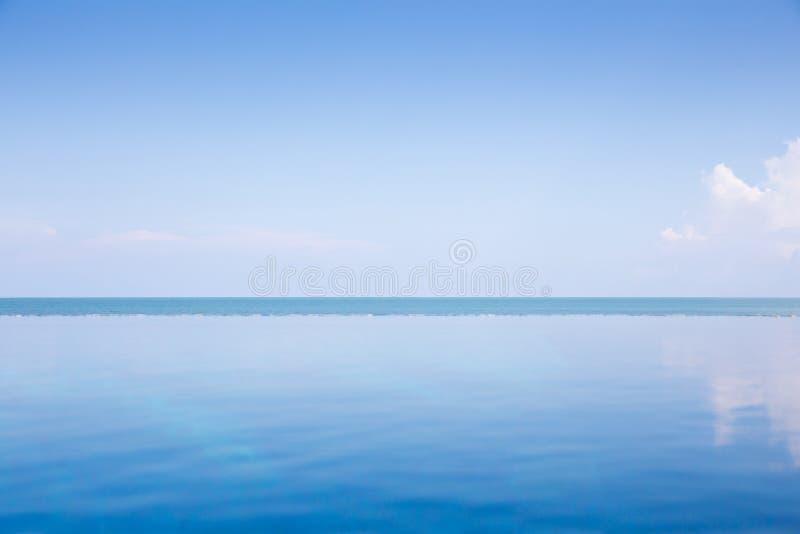 Océan bleu vide et ciel bleu : Vue de piscine d'infini photos stock