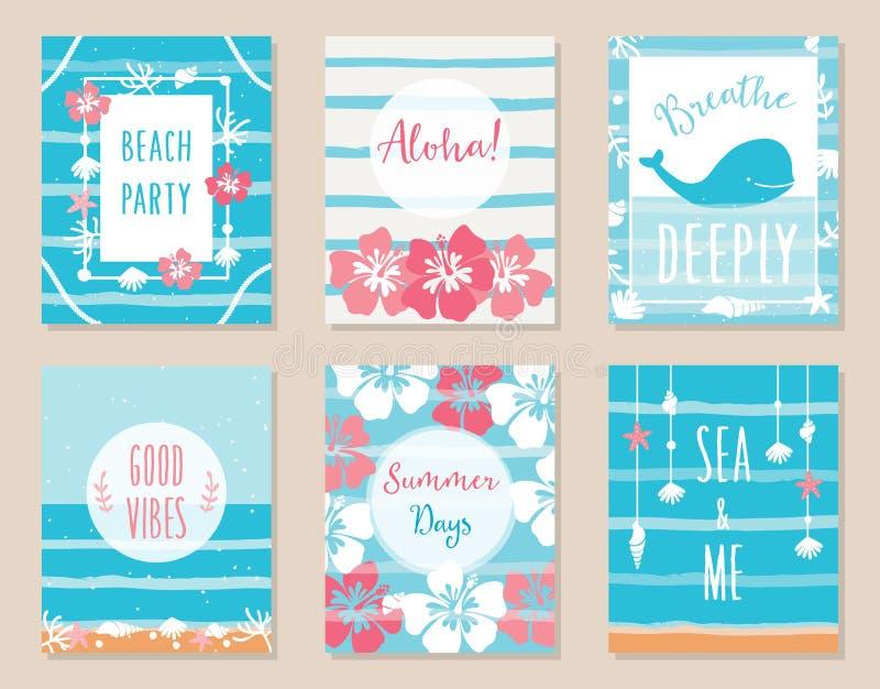 Océan d'été et affiches et cartes hawaïennes de thème de plage illustration libre de droits