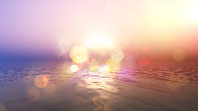 Océan de coucher du soleil avec le rétro effet illustration de vecteur