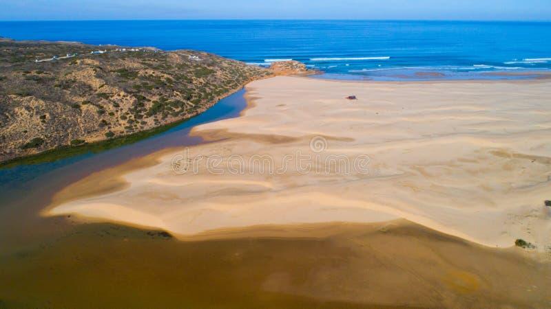 Océan de plage de rivière au Portugal image libre de droits