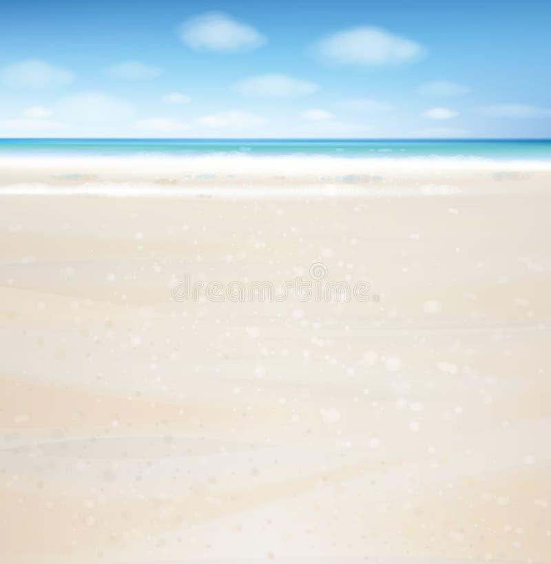 Océan de vecteur avec le ciel bleu illustration de vecteur