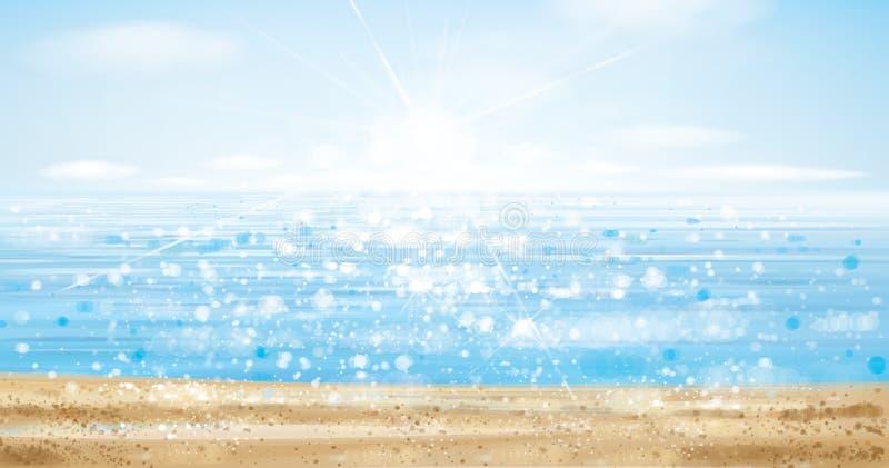 Océan de vecteur avec le ciel bleu et la plage illustration libre de droits