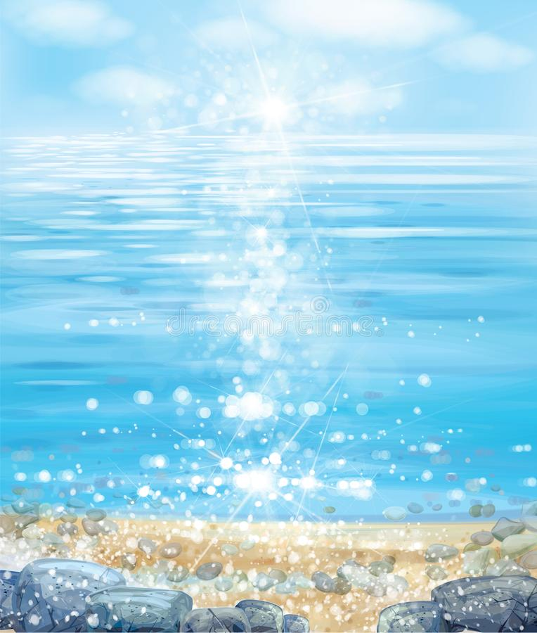 Océan de vecteur avec le ciel bleu, la plage et les pierres illustration libre de droits